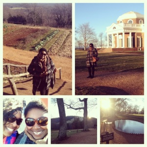 A collage: me, my pal, and miscellaneous Monticello sights.